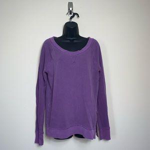 Purple J.Crew Zip Side Cotton Pullover Sweater